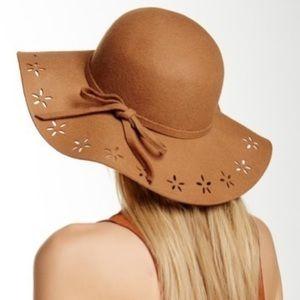 Betsey Johnson Floppy Wool Cut Out Brim Hat S-M